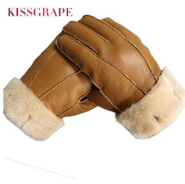 $enCountryForm.capitalKeyWord Australia - New Men Winter Gloves Warm Genuine Sheep Fur Gloves for Men Thermal Goat Fur Cashmere Real Leather Leather Snow Gloves Manual