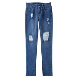 $enCountryForm.capitalKeyWord UK - The new Middle-waisted ventilation hole Irregular Elastic force Small feet Wear out Jeans Cowboy blue zipper Female trousers