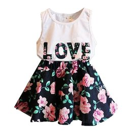 $enCountryForm.capitalKeyWord NZ - Baby girl infant 2PCS Kids Baby Girls Toddler short T-shirt Tank Tops and Floral Skirt Dress Set Outfits Clothes sets