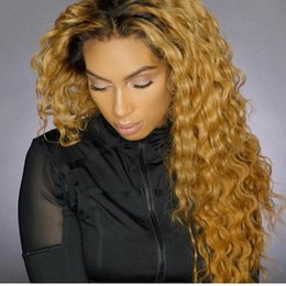 $enCountryForm.capitalKeyWord Australia - 2018 hot sale Ombre Kinky Curly Full Lace Human Hair Wigs Blonde Two Tone 1b 27 Brazilian Ombre Blonde Lace Front Wig