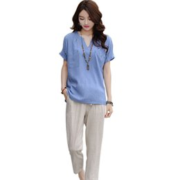 5b861658a8 WEIXINBUY 2018 Summer Plus Size Linen Tops Women Top White Shirt Coon Short  Sleeve Ladies T-shirt solid Tees