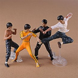 kung fu figures 2019 - 4pcs Classic Bruce Lee Action Figures Toy Gift For Children Kung Fu Garage Kit Ornament Model Doll 26 5ym WW cheap kung