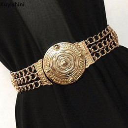gold girdle belt NZ - Fashion Gold Carved Flower Hollow Metal Chain Waist Belt for Women Dress Elastic Belts Wide Girdle High Quality Female S18101807