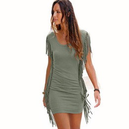 Sexy Army Shirts Australia - Hot sale of European and American women's wear summer T-shirt fashionable fringe dress sexy tight pencil skirt..