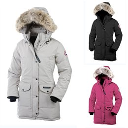 Wholesale DHL Women Canada Outdoors Fur Down Jacket Hiver Thick Warm Windproof Goose Down Coat Thicken Fourrure Hooded Jacket