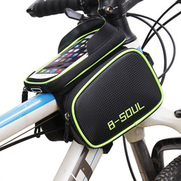 Mountain Bike Green NZ - B-SOUL Bicycle Front Touch Screen Phone Bag On The Frame Mountain Bike Top Tube Bag Cycle Panniers For Bicycle Accessories