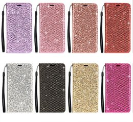 bling note NZ - Bling Glitter Leather Wallet Case For Iphone XS MAX XR X 10 8 7 6 6S SE 5 5S Galaxy Note 9 8 S9 S8 Sparkle Magnetic Closure Suck Flip Cover