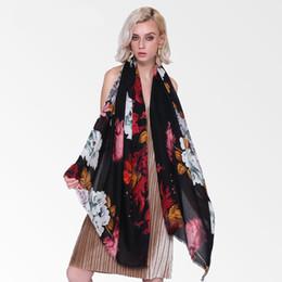 Scarf Shawl Linen Cotton NZ - Peony Flower Winter Long Soft Women Cotton Linen Scarves Scarfs Floral Print Foulard Femme Ladies Shawls Hijab Large Pashmina