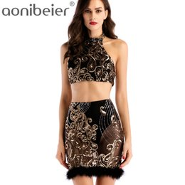 7e83b4e63856 Aonibeier 2 Two Piece Set Sexy WomenMesh Sequins Summer Dress Backless Bodycon  Crop Top Mini Skirt Nightclub Party Dresses