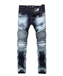 $enCountryForm.capitalKeyWord UK - hot sell Men Designer jeans Distressed Motorcycle biker jeans sizes 28 42 Rock revival Skinny Slim Ripped hole Straight Men's Denim pants