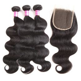 2018 wholesale brazilian virgin hair 4x4 lace closure straight body wave weave 3bundles with 4x4 lace closure human hair extension on Sale
