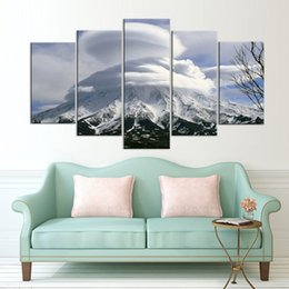 Art Canvas Prints Australia - Canvas Wall Art Posters Print Canvas 5 Panel Kronotsky Volcano Landscape Painting Wall Pictures For Living Room Home Decoration