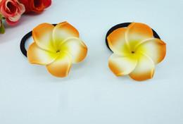 Hawaiian Hair Australia - 20 New orange color Foam Hawaiian Plumeria flower Frangipani Flower bridal hair bands elastic bands 4.5cm