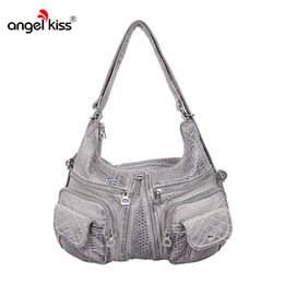 Leather Hobo Shoulder Bags Australia - Angelkiss Brand Women Handbags  Snakeskin Tote Bags For Female Shoulder b0c024cb16d8e