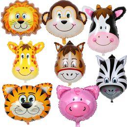 Monkey Party Decorations Australia - 50pcs Lion Monkey Cow Zebra Head Foil Balloon 64*46CM Tiger Helium Ballons Kids Birthday Animal Theme Party Decoration Supplies