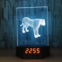Discount star night light boxes - 3D Leopard Illusion Clock Lamp Night Light RGB Lights USB Powered 5th Battery IR Remote Dropshipping Retail Box
