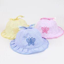 $enCountryForm.capitalKeyWord Canada - New Fashion Newborn Anti-sun hats Girls Summer Visor Caps Trendy Baby Toddler Butterfly Bow Hat Cotton Light Cozy 0-12M Free Shipping