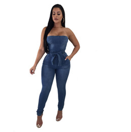 4964f01d0ac Women Sexy Strapless Jeans Jumpsuits with Bow Tie Belt High Stretchy  Bodycon Rompers Fashion Summer Overalls Club Wear