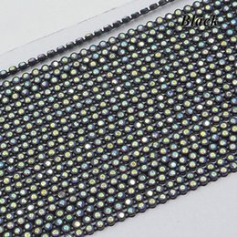 Chain Trimmings NZ - JUNAO SS8 Black AB Rhinestone Banding Crystal Trim Strass Chain Bridal Beads Applique For Clothes Dress Crafts Decorations