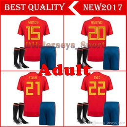 1182c7722 2018 World Cup Spain soccer Jersey Adult Kits home red MORATA A.INIESTA  ISCO RAMOS ASENSIO SILVA Football Shirts uniform Full Sets + Socks