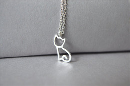 $enCountryForm.capitalKeyWord NZ - 30pcs Fashion Cute Pussy Cat pendant Necklace Hollow Outline Lovely Pet Cat Necklaces Simple Animal Kitty Necklaces for women Ladies