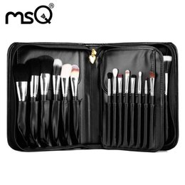 Brand Pro Makeup Cosmetic 29 Pcs Set Artist Brush 2017 Goat Hair Wood Handle Fashion Women Cosmetic Black Pu Leather Box Kit Hot