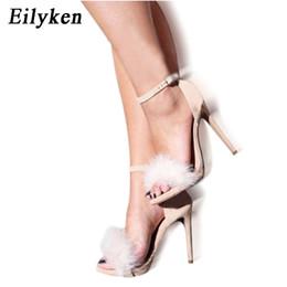 Chinese  Eilyken Burgundy 2017 Women High Heel Stilettos Spring Autumn Real Fur Feather Hairy Sandals Pumps Bridesmaid Bridal Wedding manufacturers