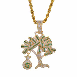 $enCountryForm.capitalKeyWord Australia - Hip Hop Gold Silver Color Cubic Zircon US Dollar Money Tree Pendant Necklace For Men Iced Out Bling Jewelry Gifts