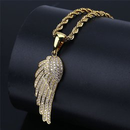mens angel wings pendant NZ - Iced Out Angel Wings Pendant Necklace Hip Hop Jewelry New Arrival Gold Chain Zircon Pendant Mens Necklace