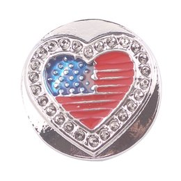love snap button charms UK - Noosa Ginger Snap Button Charms Rhinestone Amercian Flag Design Love Shape Fit Snap Bracelets Necklace Ring Earring Interchangeable Jewelry