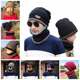 578311c9680 Winter Warm Knitted Hat 6 Colors Beanie Hats Scarf Sets For Student  Teenagers Men Knitted Hat Cap MMA993 100lot