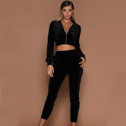 velvet tracksuits Australia - New Arrival Women Tracksuits Sport Suits High Quality Girls Velvet Zipper Casual Sport Two Pieces Women Short Coat With 3 Colors