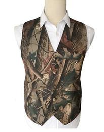 Slim tie Set online shopping - 2018 Modest Camo Printed Groom Vests Hunter Wedding Vests Realtree Spring Camouflage Mens Vests piece set Vest Tie Custom Made