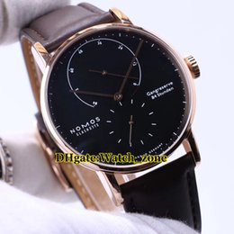 reserve gold Canada - New Nomos Lambda Glashutte 954 Power Reserve Black Dial Automatic Mens Watch Rose Gold Leather Strap High Quality Cheap New Watches