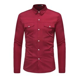 $enCountryForm.capitalKeyWord NZ - Long Sleeve Mens Shirts Elegant Wedding Blusa Tops Fashion New Arrival Streetwear Office Cool Blouse Male Working Vintage Tops