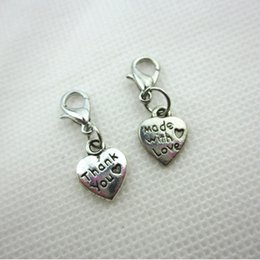 charms thanks NZ - Hot selling 50pcs lot mix silver made with love thank you heart dangle charms lobster clasp charms for floating lockets