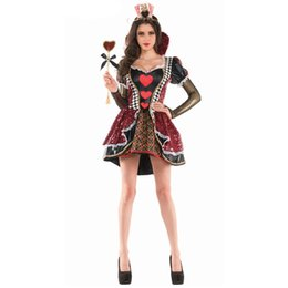 Wholesale make adult costumes for sale – halloween New Custom Made New High Quality Alice In Wonderland The Red Queen Costume Fancy Dress Adult Women Halloween Cosplay Costume sexy