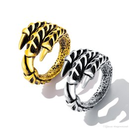 $enCountryForm.capitalKeyWord Australia - Punk Silver Gold Men Ring Stainless Steel Dragon Claws Size 7-12 Personality Biker Rings Vintage Gothic Rings Jewelry GJ627