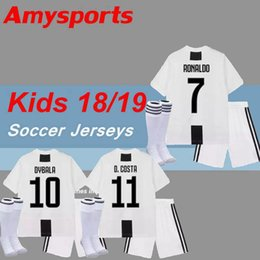 368755756f5 Kids kit 2018 RONALDO Dybala Soccer Jersey MAGLIA Calcio HIGUAIN Matuidi 18  19 D.Costa with socks youth boy Child football shirts