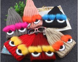 $enCountryForm.capitalKeyWord Canada - 2017 Fashion Cute Children Winter Hats new Fur pompom Eyes Beanies Cap Natural Hat For Kids Children Skullies 3-13T kids