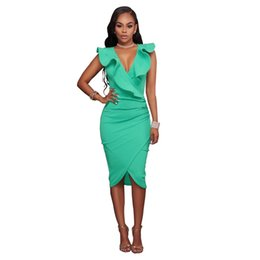 4ba3d0644124 Women Ruffle Elegant Sexy Party Dresses Summer V Neck Ruffles Butterfly  Sleeveless Party Dresses Ladies Slim Midi Club Vestidos