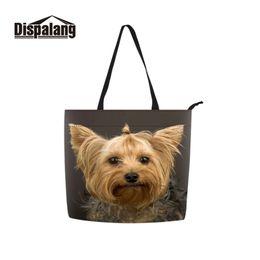 e2898457c063 Dispalang Reusable Polyester Bolso Folding Over Cloth Bag 3D Printing Green  Dog Pattern Shoulder Bags on Wheels Messenger Bag