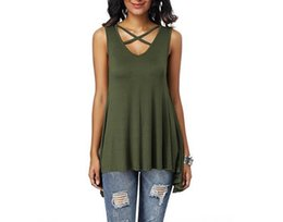 Sexy Army Shirts Australia - Explosion models 2018 spring and summer new women's chest cross V collar sexy sleeveless loose T-shirt stock