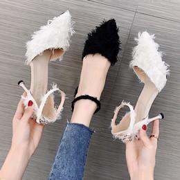 Venta al por mayor de Mujeres de lujo negro punta estrecha bombas de las mujeres, zapatos de tacón alto de moda negro de 70 mm para mujeres zapatos de boda