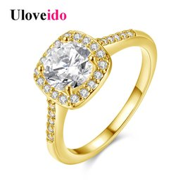 $enCountryForm.capitalKeyWord NZ - Uloveido Wedding Rings for Women Engagement Ring Female Oval Zirconia Gold Color Crystal Jewelry Women's Accessories Gift KR002