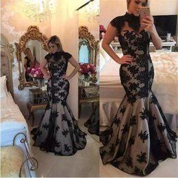 efc7ed48 Black Lace Mother of the Bride Dresses Hollow Back High Neck for Wedding  Party Mermaid Prom Evening Gowns Groom Godmother Dinner Dresses