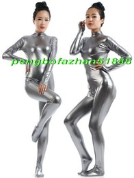 fancy full body suits NZ - Sexy Body Suit Costumes Unisex Silver Gray Shiny Metallic Suit Catsuit Costumes No Head Hand Halloween Fancy Dress Cosplay Costumes P347