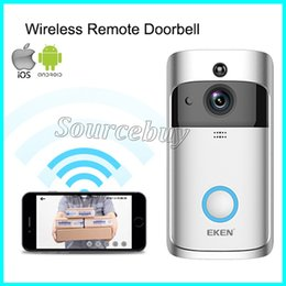 Venta al por mayor de WIFI inalámbrico Video de la puerta Teléfono de la puerta Intercomunicador EKEN Sistema de campana de video Visión nocturna Cámara exterior con micrófono Altavoz HD 720P Plata