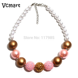 $enCountryForm.capitalKeyWord NZ - 2pcs Pink Chunky Bubblegum Charm Necklace Kids Dress Up Jewelry Chunky Imitate Pearl Beads Necklaces Girls Best Party Decoration