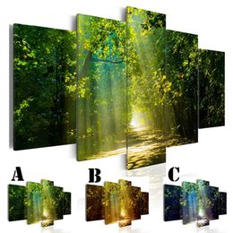 $enCountryForm.capitalKeyWord UK - Wall Art Picture Printed Oil Painting on Canvas No Frame 5pcs set Home Decor Extra Mirror Border Tree-lined Trail